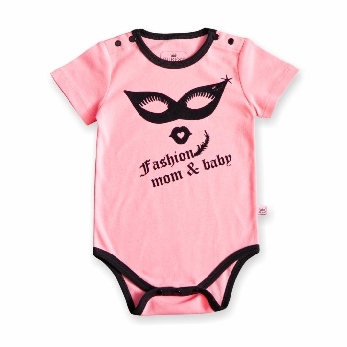 PUREST Eye Mask Baby Short Sleeve Bodysuit [100% Made in Taiwan] Pink