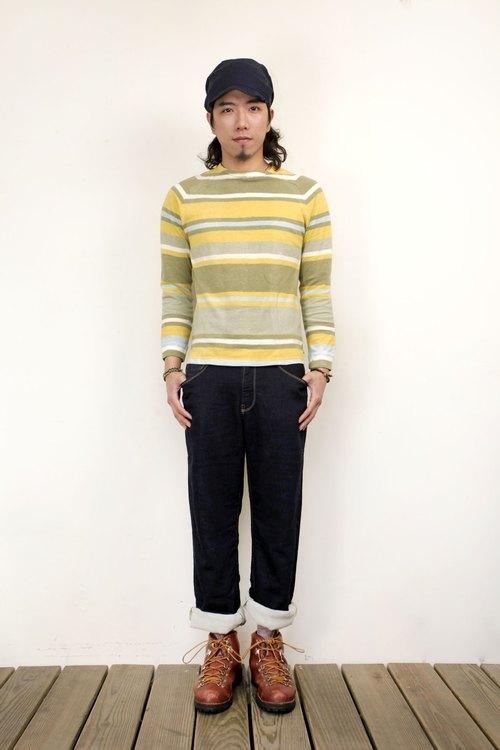Gohemp dyed green and yellow striped long T- (left male S)