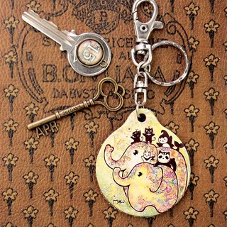 Good Meow vegetable-tanned leather key ring - Elephant flowering
