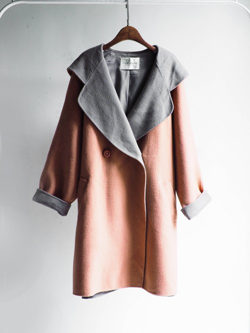 River Hill - youth season diary antique pink pale pinkish gray large lapel wool sheep wool wool coat jacket vintage wool vintage overcoat oversize