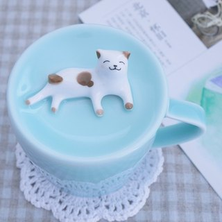 Three shallow ceramic original lazy cat cup lid cup milk flower cup Meng creative birthday gift water cup