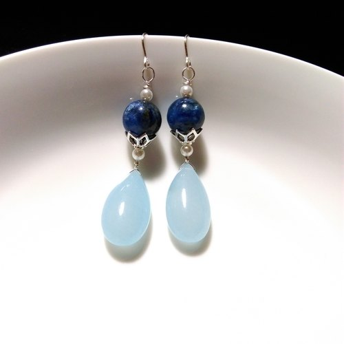 [LeRoseArts] Princesse Mignonne series handmade earrings -Kyanite & amp; Chalcedony