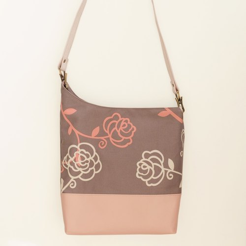 Name of the Rose lambskin + Japanese cotton canvas shoulder bag cow peel the asymmetric pale gray and purple cloth Limited