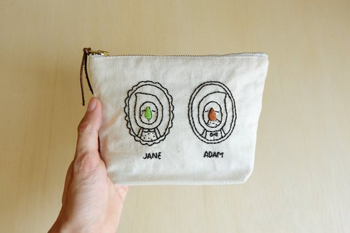 Handmade cosmetics pouch / big nose family / Jane and Adam