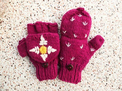 【Grooving the beats】Handmade Wool Mittens, Convertible Mittens, Fingerless Mittens, Wool Gloves, Hand knit Mittens, Hand knit Gloves(Flower Embroidery_Pink)