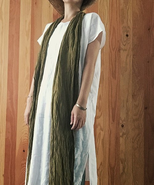 The wind light natural linen cotton handmade clothes washed in this long gown white robe