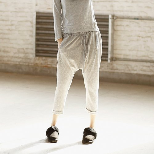 Fallon already plain white cotton knitted pants L code