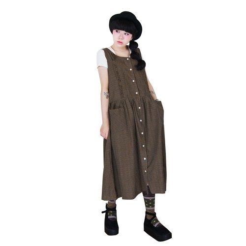 A‧PRANK: DOLLY :: VINTAGE retro with black coffee Plaid double-breasted vest pocket dress