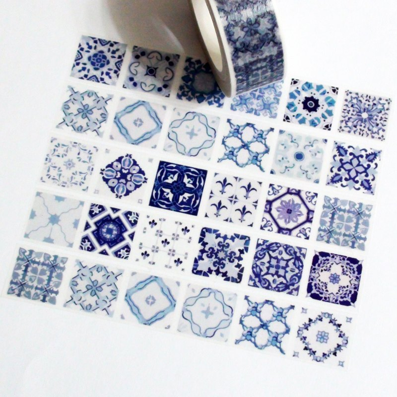 Masking Tape Blue & White Tiles