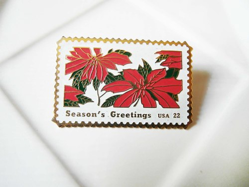 復時品【Season's Greetings USA胸針:聖誕紅郵票】