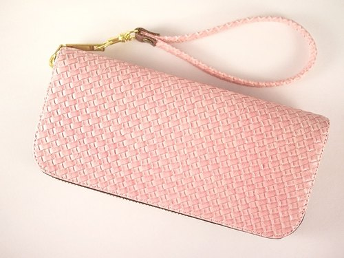 Pink knit. Long leather folder / wallet / purse / purse