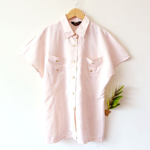 BajuTua / vintage / pink gold buckle slip material Xiaojian shirt (micro defects)