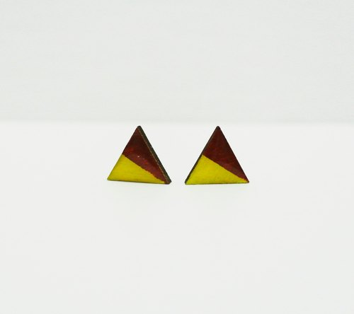 Hand-painted wooden blocks of color triangle earrings time