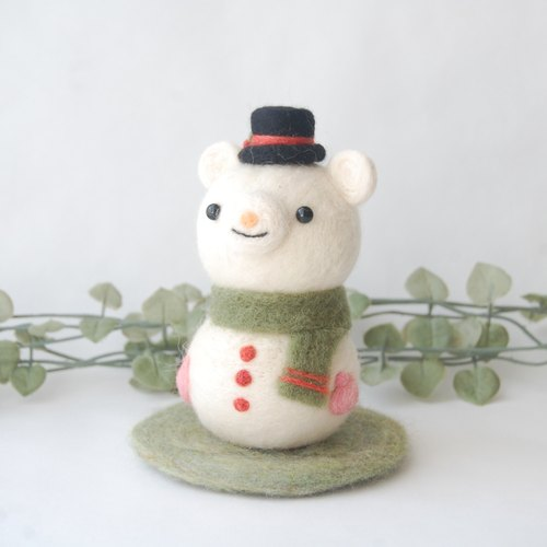 Wool felt: Merry Christmas ☆ Shirokuma snowman