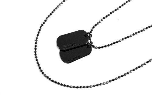 Double Logo Dog Tag Necklace double LOGO military license necklace (black)