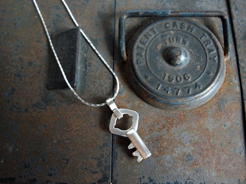 Vintage Tiny Key--B--Sterling Silver--Silver Key--Pendant Necklace