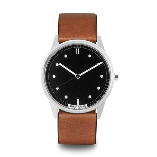 HYPERGRAND - 01 basic models series - silver black dial honey brown leather watch