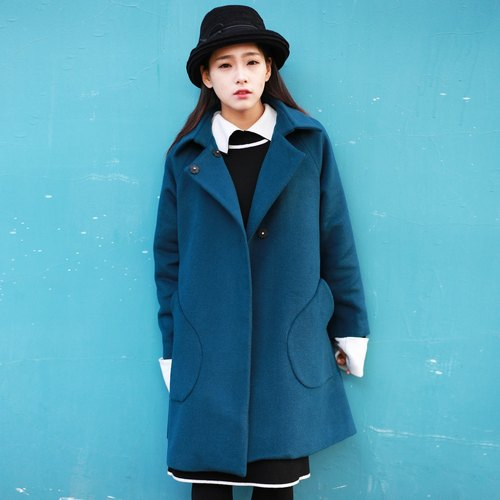 Annie Chen original design peacock blue retro square collar autumn and winter coat long section of female coat jacket