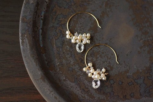 14kgf pearl star earrings