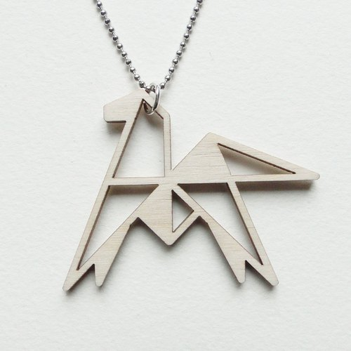 ❖ ❖ small New Year's gift horse Prince / geometric wooden necklace