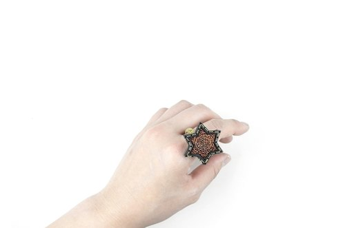 SUE BI DO WA - handmade leather and close the hand-woven ring of stars (orange) -Leather mix with yarn Star Ring