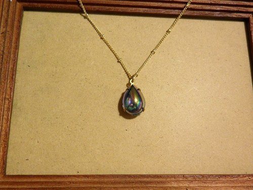 Antique pear-shaped blue diamond necklace [Qingming rain]