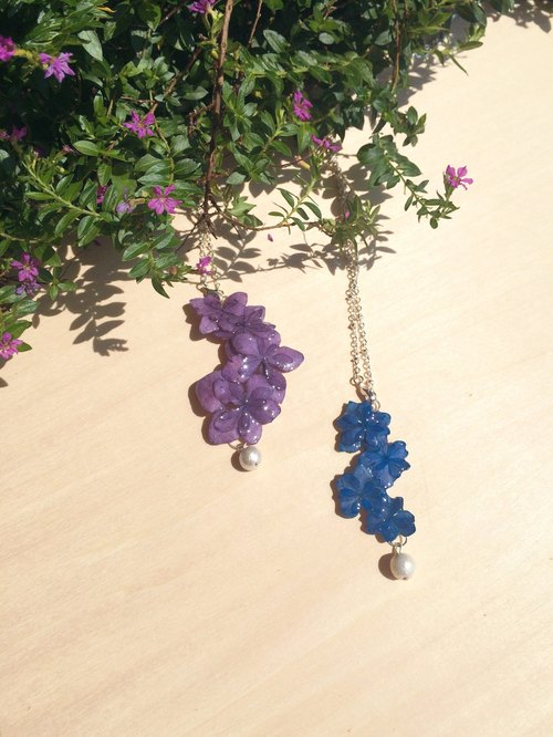 *Haku‧Neko*Tasikmalaya purple hydrangea flower necklace really playing straight dual