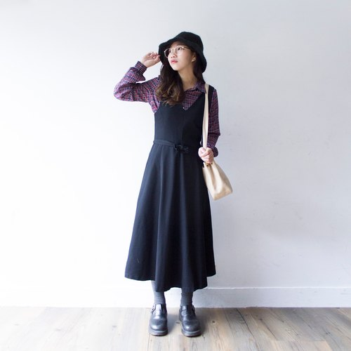 Banana cat. Banana Cats perfect waist vintage black wool vest dress