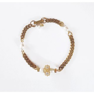 ∴Minertés = classical gilded brass bracelet pearl diamond wheel ‧ ∴