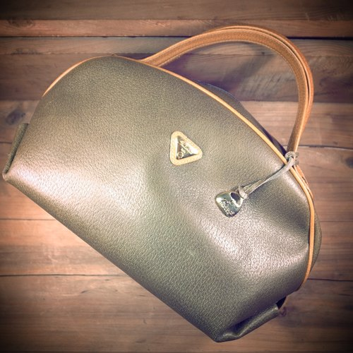 [Bones] early Fontanelli by reco's Caramel x green leather handbag genuine antique print bag Vintage