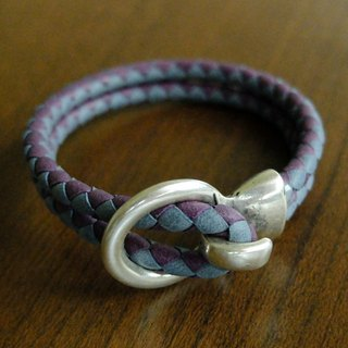Valentine's Day weaving version of the pirate captain leather bangle bracelet (gray + purple) music in hand made European jewelry