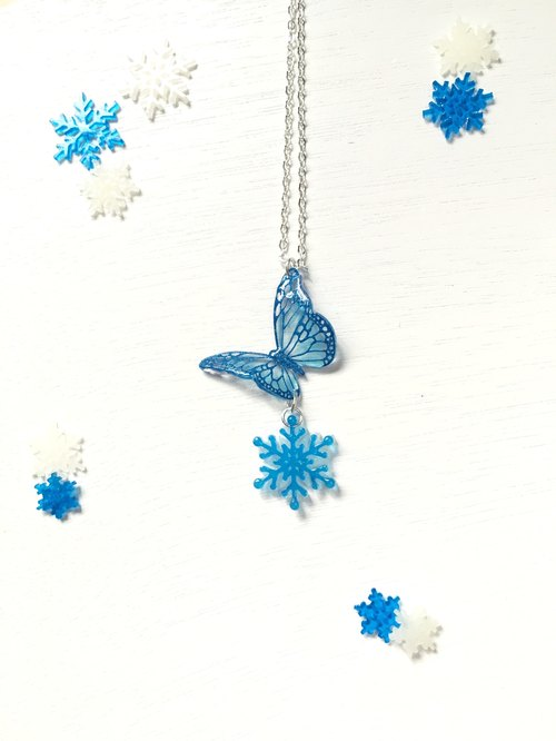 """Winter Limited"" snowflakes blue snowflakes texture painted butterfly necklace"