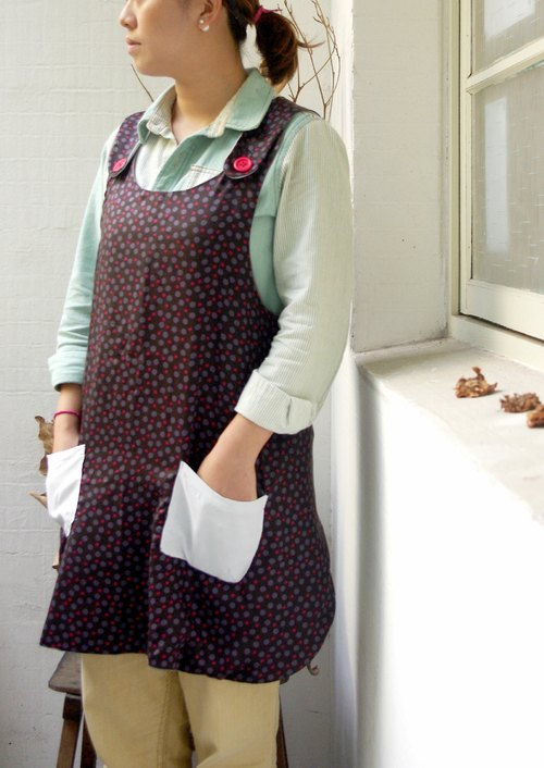 [Muu a] bear hug around twists / rain mix of face-sided hand-aprons worn 2way