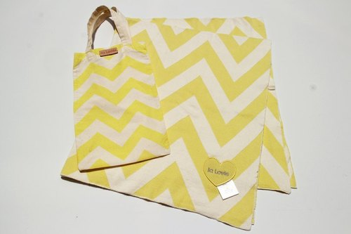 Chevron organic cotton blanket - lemon