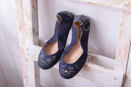 [March] two kinds of cat meow ‧ folding ballet shoes _ blue Natalie