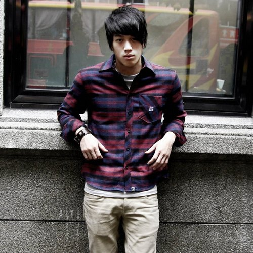 SS joint family _ Faith Cross-sleeved dark violet black plaid flannel shirt fit male version _