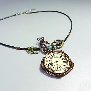 [Mania] ANITA hand-made Indian handmade retro clock pattern aluminum metal braided leather necklace X - Special