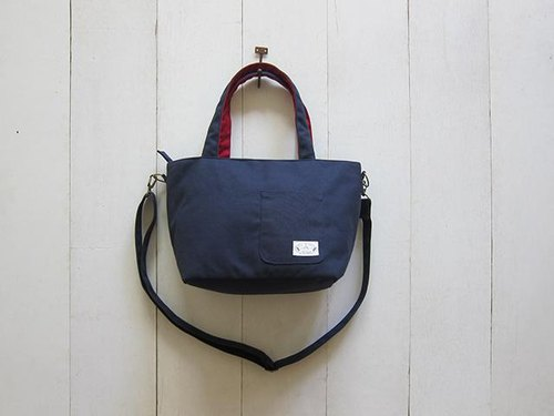 Dachshund zipper canvas tote bag + front pocket - Small (+ navy blue burgundy) + removable adjustable long strap