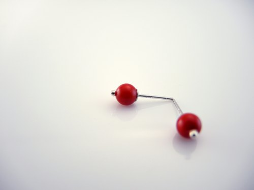 """Full Moon Full Moon"" classic ear ear pin earrings - red sea bamboo section"