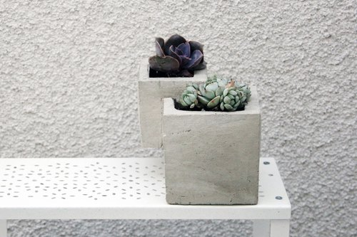 Cement/Concrete Stacked Cube Planter
