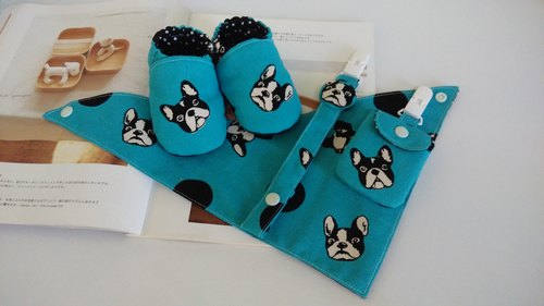 Blue bulldog births gift baby shoes scarf + + + pacifier clip talismans bags