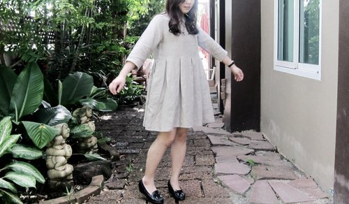 Dolly Loose Fit Dress / Linen dress / Prom / Party dress / day dress / Beige colour / Oversize dress.
