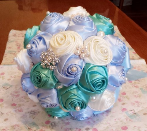 Tiffany blue and green color pearl ribbon wedding bouquet bridal bouquet flower ball wedding gifts