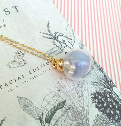 Cotton candy necklace glass beads (blue sky taste) (hypoallergenic)