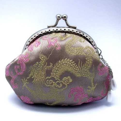 Silk brocade dragon mouth gold package, purse (CS-06)