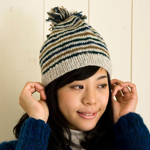 "Earth tree fair trade-2013 autumn and winter ""hat Series"" - balls of wool striped caps (blue)"