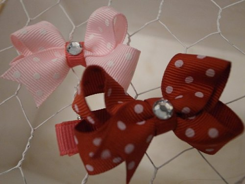 Red little small bow hairpin