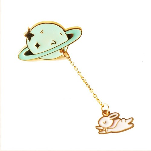 U-PICK original product life alloy original creative cute sweet planet moon rabbit collar pin brooch pin