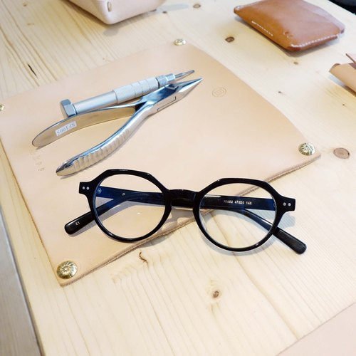 Japan hexagonal retro round frame blue lens glasses frame plate 26g