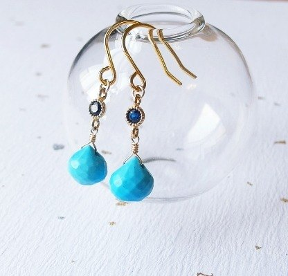 | Touch of moonlight | natural slice fat droplets blue turquoise earrings classical